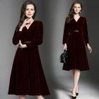 Long-Sleeved Tie-Waist A-Line V-Neck Plain Long Sheath Dress 1596