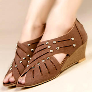 Buy Kvoll Peep-Toe Studded Wedge Sandals 1022979463