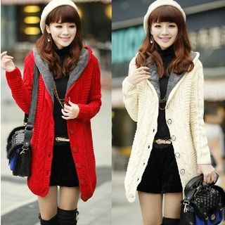 Image of Cable Knit Hooded Buttoned Coat
