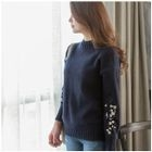 Frilled-Trim Embroidered-Detail Knit Top 1596
