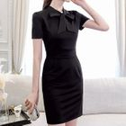 Bow Accent Short Sleeve Dress 1596