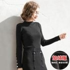 Mock-Neck Button Detail Long-Sleeve Knit Top 1596