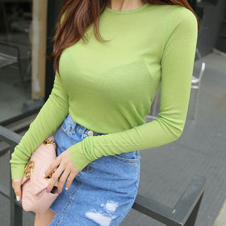 Long-Sleeve Round-Neck Ribbed T-Shirt 1059429945