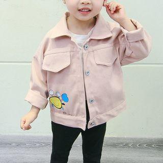 Image of Kids Cartoon Print Collared Jacket
