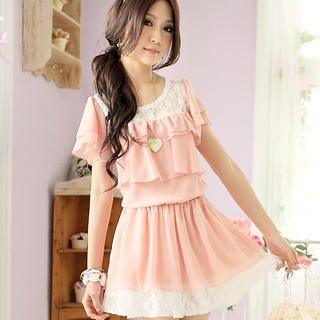Buy Tokyo Fashion Lace-Panel Ruffle Chiffon Dress 1022898109
