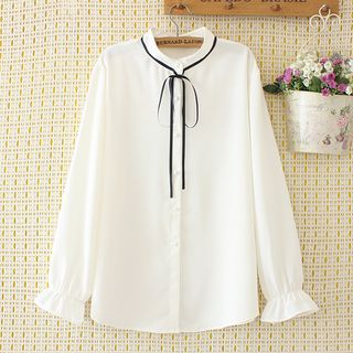 Image of Bell-Sleeve Bow Accent Blouse