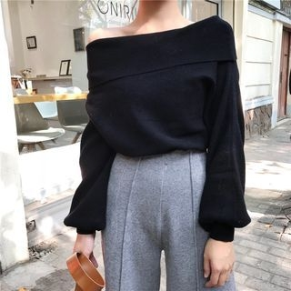 Off-Shoulder Puff-Sleeve Sweater