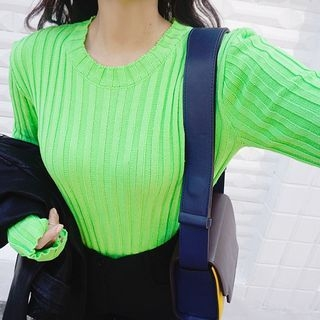 Round-Neck Ribbed Knit Top 1053616794