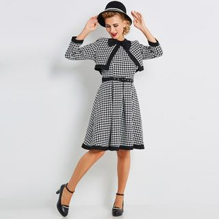 Image of Set: Open Front Cardigan + Sleeveless Plaid A-Line Dress