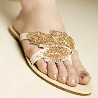 "Buy Kvoll Beaded ""Leaf"" Thong Sandals 1022991559"