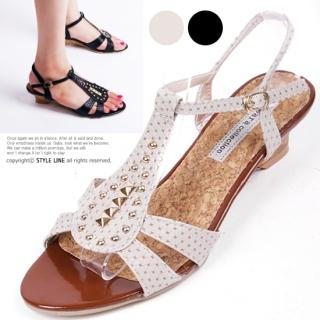 Buy STYLE LINE Studded T-Strap Wedge Sandals 1022996984