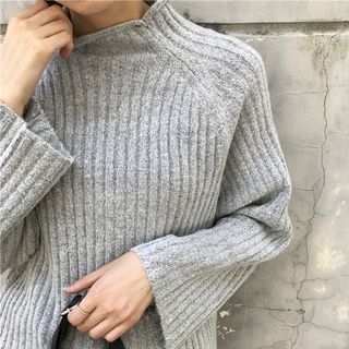 Ribbed Mock Neck Loose Fit Sweater 1054961020