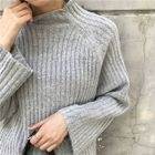 Ribbed Mock Neck Loose Fit Sweater 1596