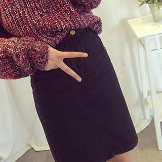 Slit-Back Denim Pencil Skirt