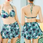 Set: Leaf Print Bikini + Cover-Up Top + Shorts 1596