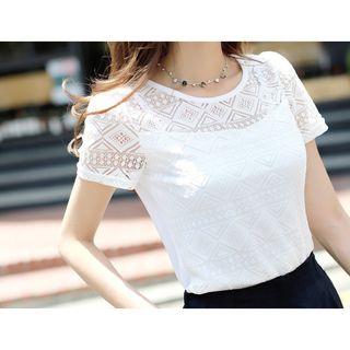Image of Short-Sleeve Lace Panel Chiffon T-Shirt