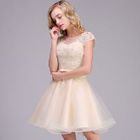 Embroidered Cap-Sleeve Mini Prom Dress 1596