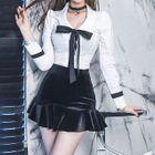 Set: Bow-Accent Blouse + Ruffle Hem Mini Skirt 1596