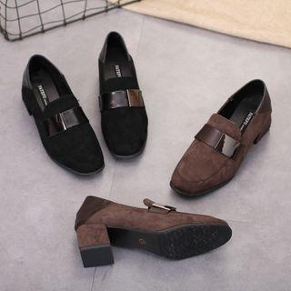 Image of Chunky Heel Paneled Loafers