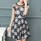 Mesh Panel Floral Short-Sleeve A-Line Dress 1596