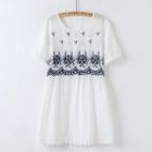 Embroidered Lace Panel Short-Sleeve Dress 1596