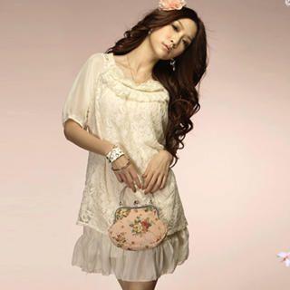 Buy Tokyo Fashion Rosette Lace Overlay Chiffon Dress 1022550644