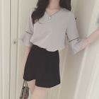 Set: Ruffled Elbow-Sleeve Chiffon Top + Bow-Accent Shorts Top - Gray - XXXL 1596
