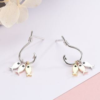 Sterling | Earring | Dangle | Silver | White | Fish | Rose | Gold | Size | One