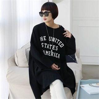 Lettering Oversized Long T-Shirt 1056144930