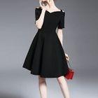 Off-shoulder Strap Short-Sleeve Dress 1596