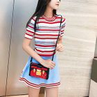 Set: Striped Knit Top + A-Line Skirt 1596