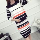 Set: Elbow-Sleeve Striped Cropped Knit Top + Striped Knit Skirt 1596
