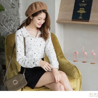 Long-Sleeved Star Print Blouse 1064706432