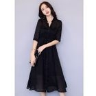Set: Slipdress + Elbow-Sleeve V-Neck Buttoned Cardigan 1596