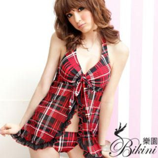 Buy BiKiNi Wonderland Set: Plaid Bikini + Top Red-One Size 1022804316