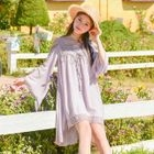 Lace Panel Open Shoulder Long-Sleeve Dress 1596