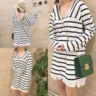 Long-Sleeve V-Neck Striped T-Shirt Dress 1596