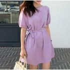 Short-Sleeve Tie-Waist A-Line Mini Dress 1596