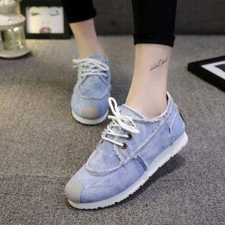 Hidden Wedge Denim Sneakers