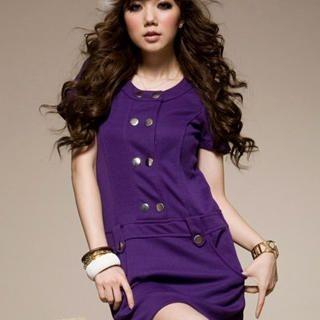 Buy I'Miusa Short-Sleeve Buttoned Dress 1022330263