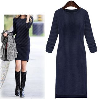 Ribbed Long-Sleeve Knit Dress 1048194029