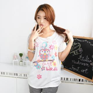 Image of Bird Print T-Shirt White - One Size