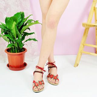 Buy KAWO Flower-Accent Lace-Up Sandals 1022918400