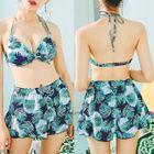 Set: Floral Bikini + Printed Tank Top + Shorts 1596