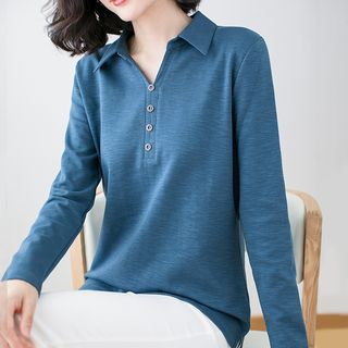 Image of Button Long-Sleeve Polo Shirt