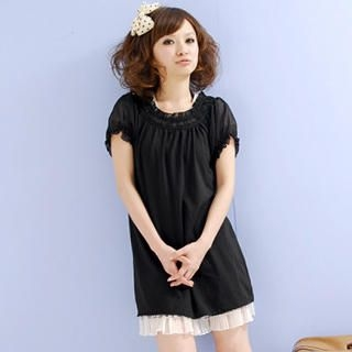 Picture of ZOO Puff-Sleeve Frill Dress 1023014381 (ZOO Dresses, Womens Dresses, Taiwan Dresses)