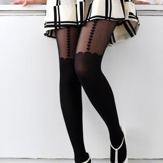 Heart Print Scalloped Tights Black - One Size 1033039607