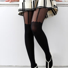 Heart Print Scalloped Tights Black - One Size 1596