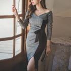 Two-Tone Long-Sleeve Tie-Waist Dress 1596