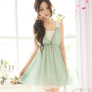 Buy Tokyo Fashion Sleeveless Eyelet-Lace Strap Babydoll Dress 1022968480